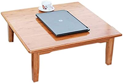 Selected Furniture/Coffee Table Home Window Sill Table Bamboo Wood Table Tatami Platform Low Table Pure Hand Craft Tea Table Square Small Desk (Color : Khaki, Size : 70 * 70 * 32CM)