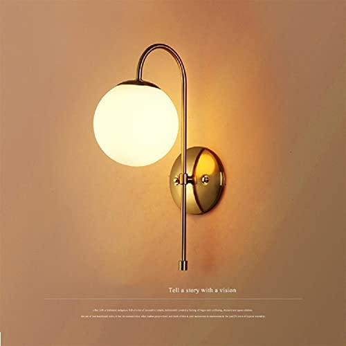 Lámpara de noche de dormitorio industrial nórdico Mini pared de una sola pared Acabado dorado Lámpara helada esférica de la pared de la pared de la pared de la pared de la pared de la pared de la pare