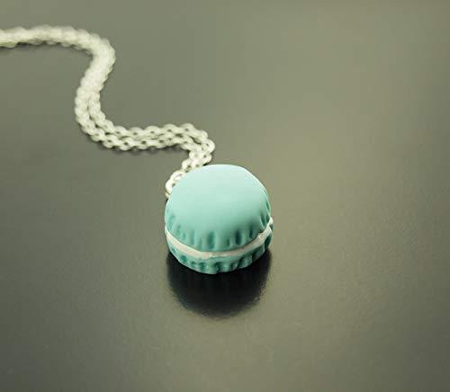 Kette Macaron blau hellblau Gebäck Cookie Keks Süssigkeit Resin Anhänger silbern Juvelato