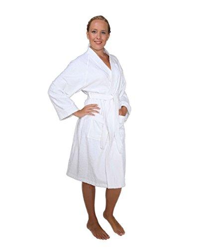 Arus Women's Short Kimono Lightweight Bathrobe Turkish Cotton Terry Cloth Robe White S/M