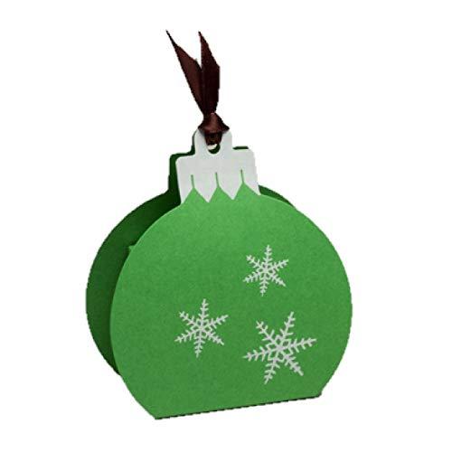 Ballotins à dragées - boites à Chocolat Noël Forme Boule de Noël Couleurs au Choix x6 noël Mariage baptême Communion Anniversaire- (Perlé Vert imp. Blanc)