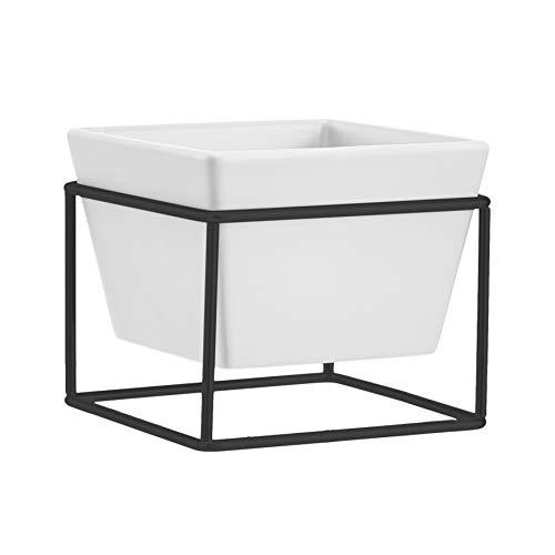 AmazonBasics - Macetero de mesa, cuadrado, blanco/negro