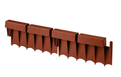 Suncast Interlocking No Dig Border Edging - Brick - Resin Construction for Garden, Lawn, and Landscape Edging - Water Resistant Border for Containing Trees, Flower Beds and Walkways