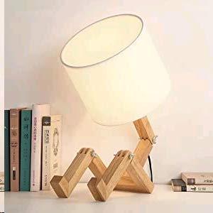 Lámpara de escritorio robot - ELINKUME Lámpara de noche moderna nórdica con pantalla plegable de tela hecha a mano de cuerpo de madera maciza lámpara de mesa creativa iluminación decorativa