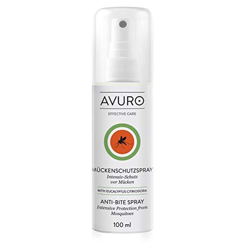 AVURO Mückenschutzspray, bis zu 8 Stunden Intensiv-Schutz gegen Mücken, frei von DEET, 100% pflanzlicher Wirkstoff Eucalyptus Citriodora Öl, 100 ml