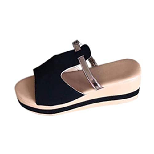 Sandalias Mujer Verano Plataforma Sin Cordones Casual cómodo con Punta Abierta Zapatillas Mujer Aire Libre Moda Zapatos Mujer de Verano Altas y Planas tacónes Mujer de Vestir Elegante Sandalia