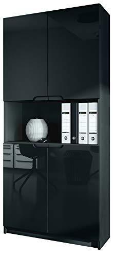 Vladon Büroschrank Aktenschrank Büromöbel Logan V2, Korpus in Schwarz matt/Fronten in Schwarz Hochglanz