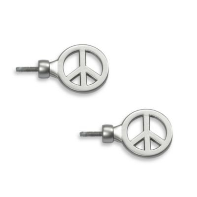 Cambria? My Room Peace Finials in Brushed Nickel (Set of 2) for Kids Bedroom by Cambria