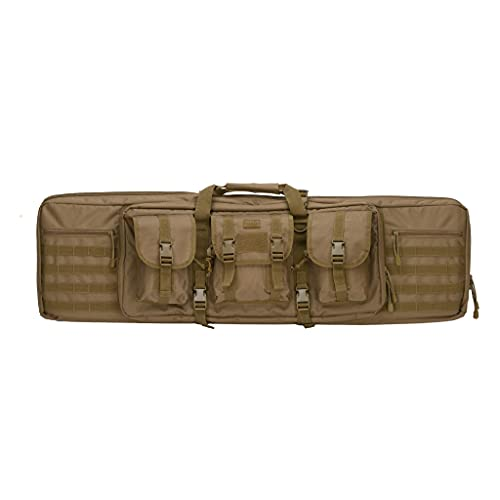 Lancer Rifle Case 600D Polyester Double Long Rifle Bag Tactical Gun Case Accessory Pouches Secondary Gun Compartment Lockable Compartment Inner Storage Backpack Straps for Hunting Shooting