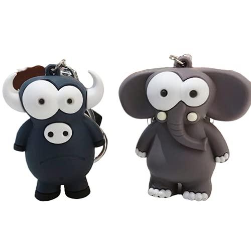 rickie_cao Feo lindo ojo grande toro y elefante llavero animal de dibujos animados llavero elefante llavero bolsa colgante llavero mujeres niños regalos