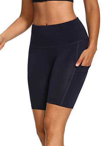 WOWENY Yoga Shorts with Pockets for Women Tummy Control high Waist Athletic Workout Running Sport Shorts