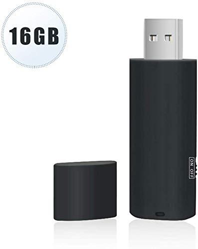 Grabadora de Voz, USB Mini Audio Digital Grabadora de Voz 16 GB con la Función del U Disco Recargable Dictáfono para Entrevista Conferencias Reuniones Negociación