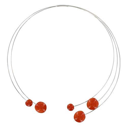 Joyas Les Poulettes - Collar Torque de Metal Cinco Guijarros de Cerámica - Naranja
