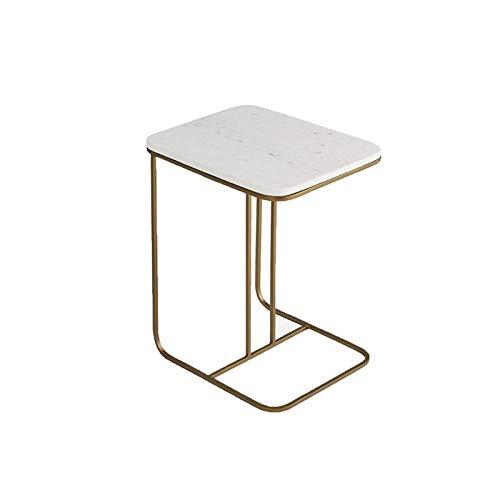 Mesas de decoración interior nórdica, mesa auxiliar de mármol, mesa de desayuno, fácil de mover en forma de C, 50 x 38 x 58 cm, muebles duraderos (tamaño: 50 x 38 x 58 cm, color: blanco)