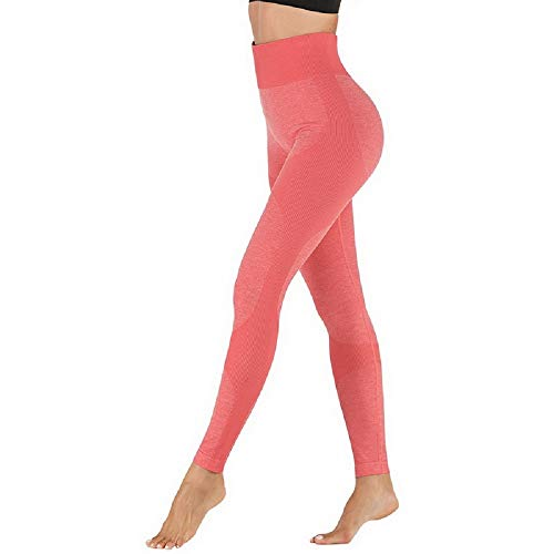 Deportivo para Mujer Leggings Apretado Leggings de Cadera Pantalón Largo Media Cintura Nalgas Respingadas para Yoga Gimnasio Fitness (XL, Rosado)