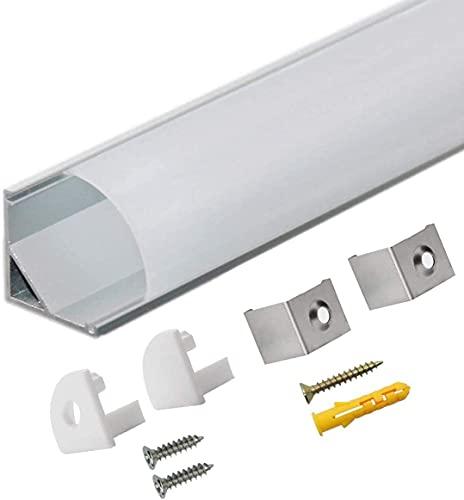 """Perfil Tira LED Aluminio 45° - 10x1metro Perfil Aluminio Forma de""""V"""" para Tira LED con Todos Los Accesorios Necesarios en el Paquete, Compacto Acabado Profesional"""