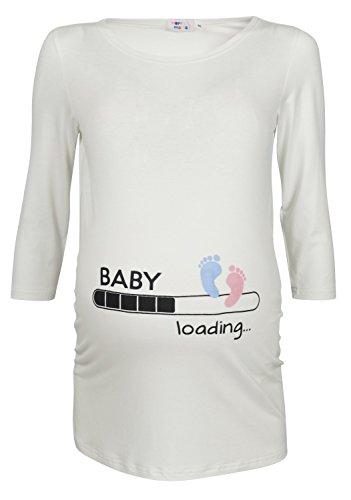 Happy Mama Damen T-Shirt Babyfüßchen Druck Oberteil für Schwangere. 549p (Nicht-Gerade Weiss, 40-42, L)