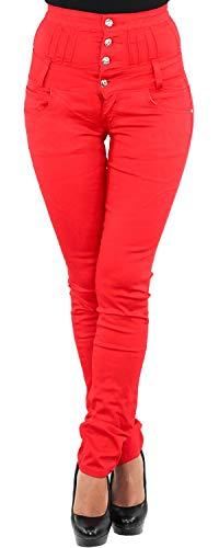 Damen Jeans Röhrenjeans Stretchjeans Hochschnitt Corsagenjeans Stretch Hose Rot M/38
