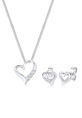 Diamore Damen-Halskette + Ohrringe Herz 925 Sterling Silber Diamant (0,12 ct) Weiß Brillantschliff 45 cm 0906290816_45