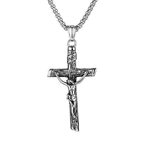LEERIAN Collar para Hombre, Cristianismo Jesús Cruzado creencia religioso Titanio Acero Colgante Hombres y Mujeres de Pascua de Pascua cumpleaños,A