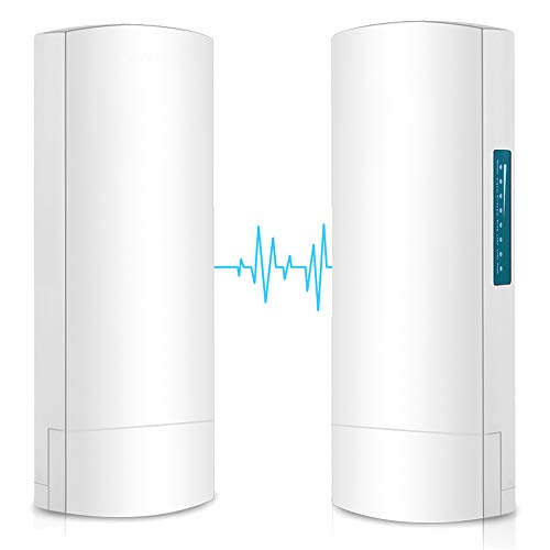 Wireless Bridge, Riiai CPE028 Outdoor 100Mbps CPE 5.8G Point to Point Long Range Access with 14DBi High Gain Directional Antenna PoE Adapter 2 RJ45 100M LAN Ethernet Port 2-Pack