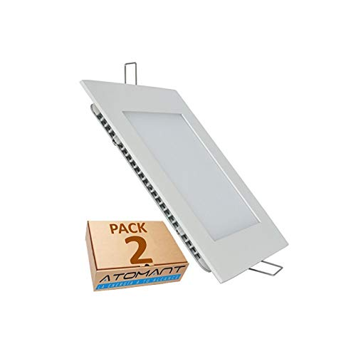 Pack 2x Panel LED Cuadrado Empotrar 18w. Color Blanco Neutro (4500K) 1600...