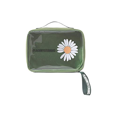 Nescop Bolsa de cosméticos portátil transparente para impresión de margaritas creativas bolsa de almacenamiento de gran capacidad para cosméticos, Green (Verde) - HDMNT4HSEK2I37QDW8