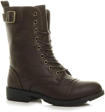 Ajvani Femmes Talon Bas arm/ée Gothique Combat Lacet Bottines Bottes Chaussures Militaires Pointure