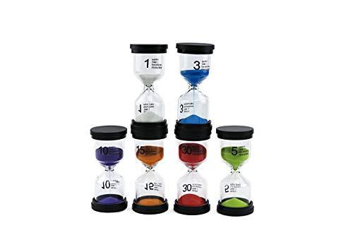 Alilaka Sanduhr-Set, klein, schwarze Abdeckung, 6 Farben, Sanduhr-Set mit 1 Minute, 3 Minuten, 5 Minuten, 10 Minuten, 15 Minuten, 30 Minuten, 6 Stück