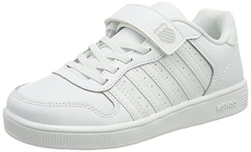 K-Swiss Unisex-Child COURT PALISADESSTRAP Sneaker, White/Gray, 28 EU