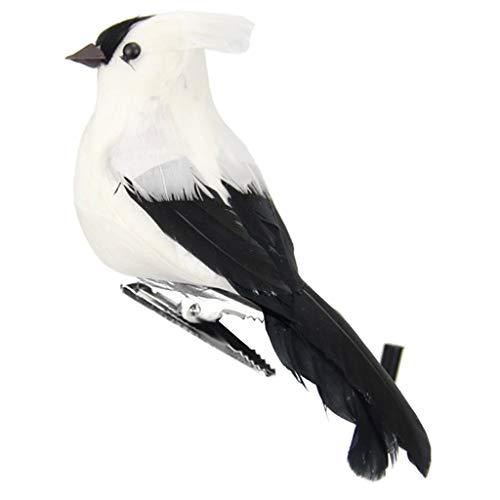 FLAMEER Pájaro Artificial con Plumas para Decorar Jaulas, árboles, Bonsáis, Decoraciones de Mesas - Blanco