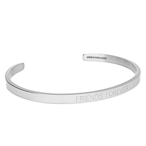 URBANHELDEN - Armreif mit Spruch - Damen Schmuck Inspiration Freundschaft - Verstellbar, Edelstahl - Armband mit Gravur