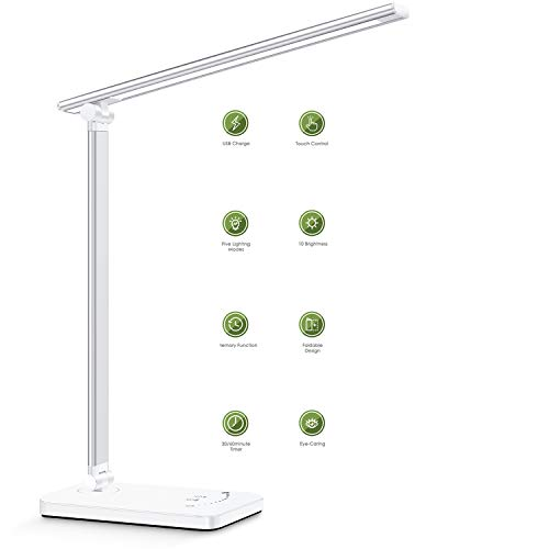 LED Desk Lamp,Office Lamp with USB Charging Port,Eye-Caring Table Lamps Provides 10 Brightness Levels and 5 Lighting ,30/60 Min Auto Timer, Touch Control/Memory Function Light for Reading ,Working