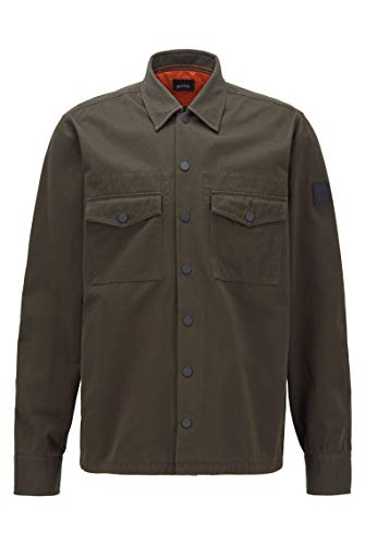BOSS Herren Lovel 4 Oversized Hemd aus Baumwoll-Twill mit Stickerei der Kollektion