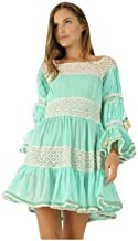Blue Women's Peach Short Dress Square-Neck in Lace Detail Casual Light Cotton Classy Tunic Girl's fashion