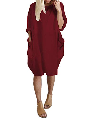 Kidsform Vestido de Talla Grande para Mujer Vestido de Otoño de Primavera Túnica de Gran Tamaño Mini Vestido Manga Larga Cuello Redondo con Bolsillos Casual D-Vino Tinto M