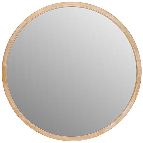 Aspecto - Espejo de Pared Redondo de Madera para baño, 50 x 4 cm