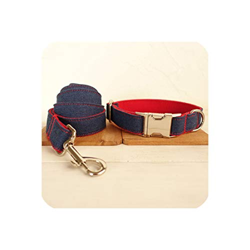 Groene Plaid Denim Jeans Hond Collars Verstelbare Huisdier Traction Set Hond Kraag Leash Set Ketting voor Kleine Grote Honden, XL neck 56-62cm, collar leash1