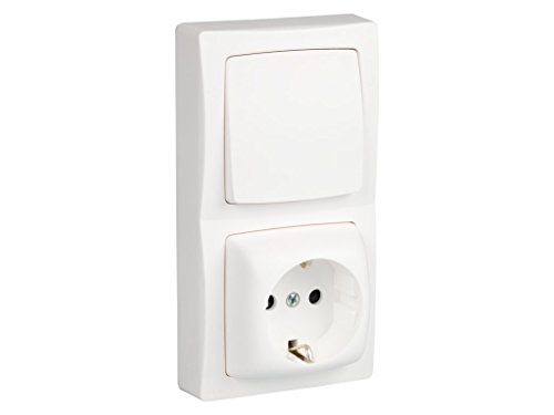 Legrand, 097383 Oteo - Interruptor + enchufe, interruptor conmutador de superficie, enchufe de pared, toma corriente, color blanco