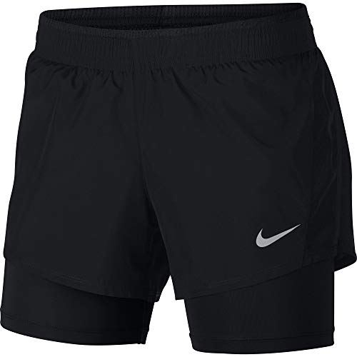 Nike Damen 10K 2-In-1 Shorts, Black/Black/Wolf Grey, L