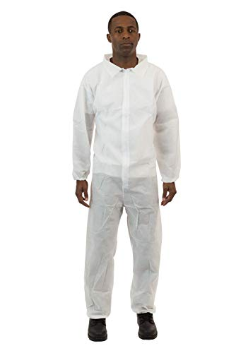International Enviroguard – Standard Weight 3 Layer SMS General Protective Coverall for General Cleanup (White) Elastic Wrist & Ankle, L, (25 per case)