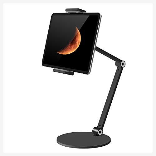 QinCoon Supporto per Tablet, Regolabile Rubusto e Resistente Alluminio Supporto con Braccio a 2 Stadi, Multi-Angolo Metallo Porta, Adatto per iPad, Samsung Tab, Kindle (4,7-13 ) (Nero)