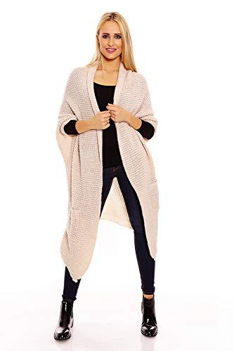 Mayaadi Damen Cardigan Gestrickte Pullover Poncho Strickjacke Asymmetrisch Taschen 512 OneSize Creme