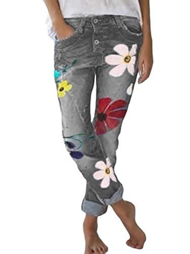 Onsoyours Damen Röhrenjeans Skinny Jeanshose mit Spitze Strass und Blumenstickerei Grau X-Large