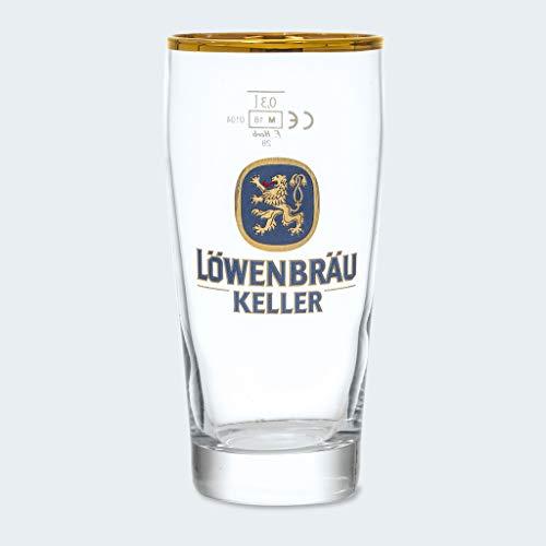 Löwenbräu Original Bierglas Hell | 0,3 L | Goldrand | Edition Löwenbräukeller