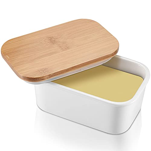 Butter Keeper, Large Butter Dish 22 oz, Porcelain Butter Container with Beech Wooden Lid & Seal Ring, Perfect for 2 Sticks of Butter