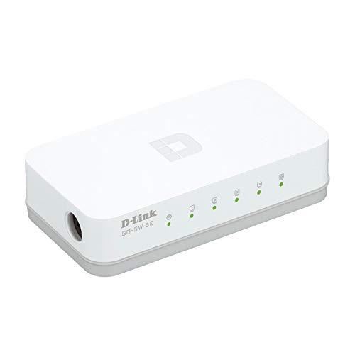 D-Link GO-SW-5E 5-Port Ethernet Easy Desktop Switch (10/100 Mbit/s, automatische MDI/MDIX-Erkennung) weiß