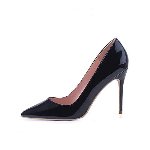 Hoher Absatz, 10 cm / 3,94 Zoll Stiletto High Heel Schuhe für Frauen Spitz Party Abendkleid Pumps Prom 10CM-SZ-41 EU/ Etikettgröße- 11