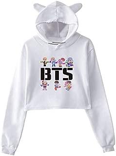 BTS white hoodie cartoon printing hoodie bare midriff hoodie-M