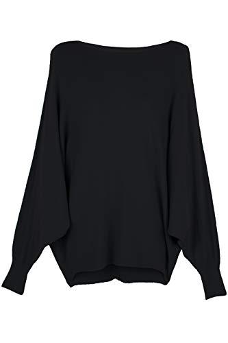 Cara Mia Strick-Pullover für Damen mit Fledermaus-Ärmeln Viskose Schwarz 38 40 42